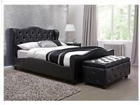 Black Leather Chelmsford Double Bed