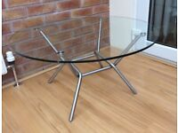 M&S Circular Clear Glass Coffee Table, New / Boxed