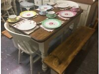 Lovely 4ft Pine Table with 2 Benches and 2 Chairs-White-Shabby Chic