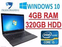 WINDOWS 10 CORE I5 LAPTOP STONE W76C 4GB 320GB HDD WEBCAM HDMI EXCELLENT FAST