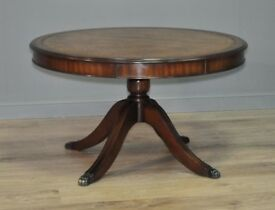 Attractive Vintage Antique Style Mahogany Coffee Table With Leather Top