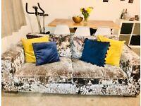 Crushed velvet grey sofas