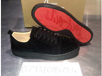 CHRISTIAN LOUBOUTIN LOW RED BOTTOMS BLACK WHITE SPIKE SIZE UK 7 8 9 10 NEW BOXED