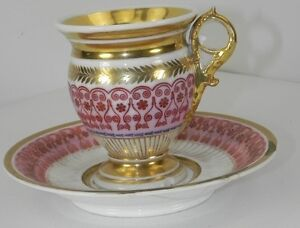 LATE 19TH CENTURY PARIS PORCELAIN A CABINET CUP & SAUCER  HANDPAINTED
