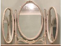Mirror 3-way 3 panel antique vintage cream oval mirrot