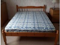 Pine double bed frame and mattress