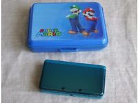 Nintendo 3DS Console, Mario Hard Case and Charger