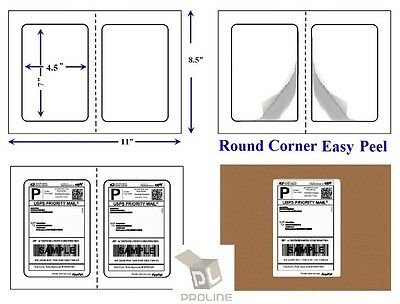 1000 Quality Round Corner Perforated Shipping Labels 2 Per Sheet 7 X 4.5