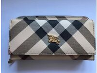BURBERRY WOMEN'S WALLET GENUINE LEATHER COIN CASE HOLDER PURSE CARD TWILL HOUSE CHECK