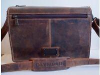 Gills of London Brown Vintage Leather Messenger Bag doubles as Camera Bag