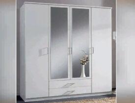 Brand New EXCLUSIVE DESIGN Top Quality modern 4 door wardrobe with mirror **elegant finish**