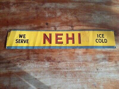 RARE Vintage Antique Nehi Soda Tin Tacker Sign Non Porcelain Door Push 26 inch