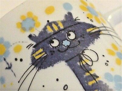 Vintage 1960s Japan Made Kitty Cat Mug Mid-Century Modern Design Flowers CUTIE!!