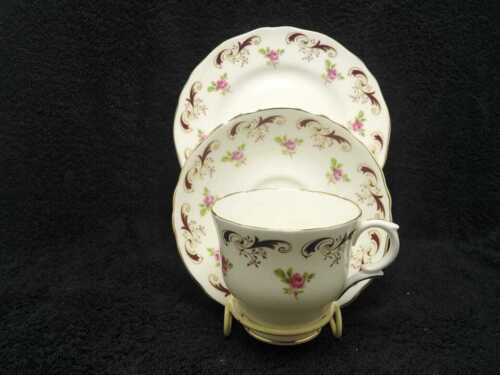 CROWN STAFFORDSHIRE porcelain PINK ROSES , CUP SAUCER PLATE TRIO