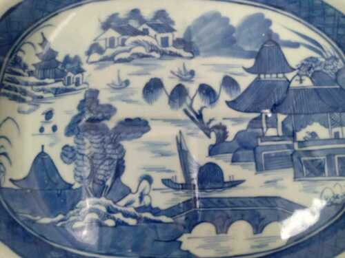 19th Century Blue and White Chinese Canton Porcelain Well and Tree Platter.