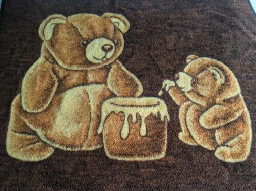 """Vintage Biederlack Teddy Bears Honey Pot Reversible Blanket 54""""x48"""" Brown Cream"""