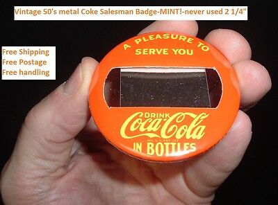 1950 Coca Cola SALESMAN ID METAL BADGE PINBACK MINT NOS Free ship