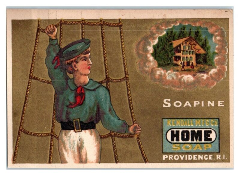 Soapine Home Soap Sailor in Netting Victorian Trade Card *VT14