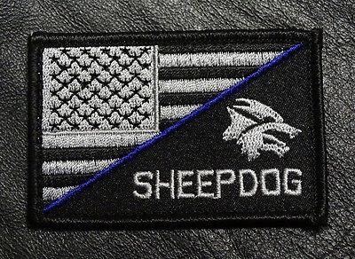 SHEEPDOG BLUE LINE US FLAG b/w TACTICAL MORALE ACU HOOK PATCH