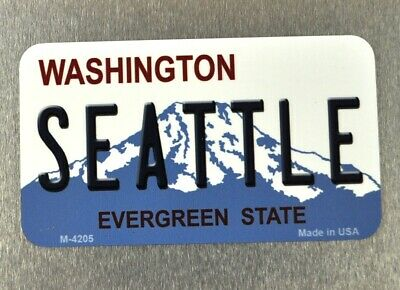USA Washington Seattle Magnet Blechschild License Plate Style Kühlschrankmagnet