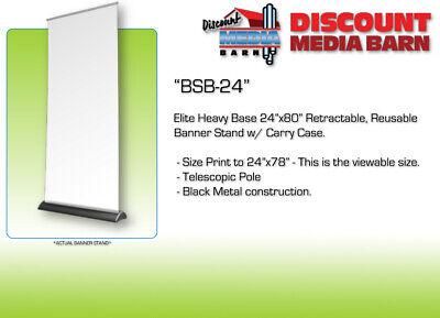 Elite Black Retractable Banner Stand - 24x80 24x78 Viewable Comes W Case
