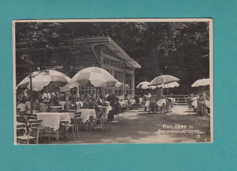 Karlsbad im  Freundschaftssaal  Cafe Antique Vintage Real Photo Postcard Germany