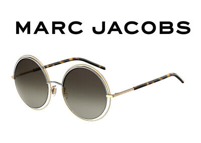 $349 Marc Jacobs Gold Round Brown Gradient Sunglasses UV 11/S APQ/HA 56-22-140