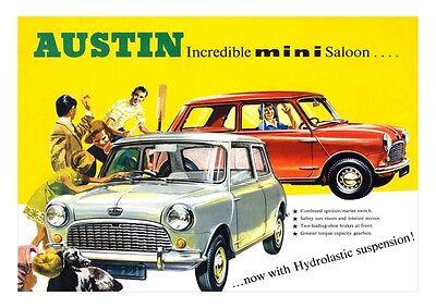 MINI AUSTIN MORRIS BMC RETRO  ADVERT POSTER PRINT FROM  THE 60'S