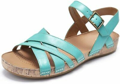 CLARKS LADIES RASBERRY JAM JADE GREEN LEATHER SANDALS SIZE 3 WIDE FIT