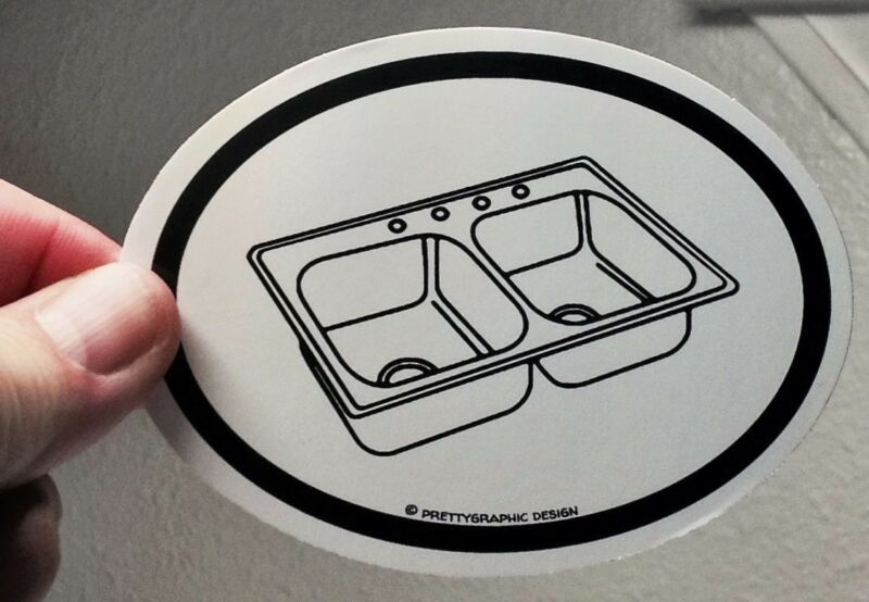 """I Packed Everything. Including the Kitchen Sink!"" 4"" X 3"" Sticker"