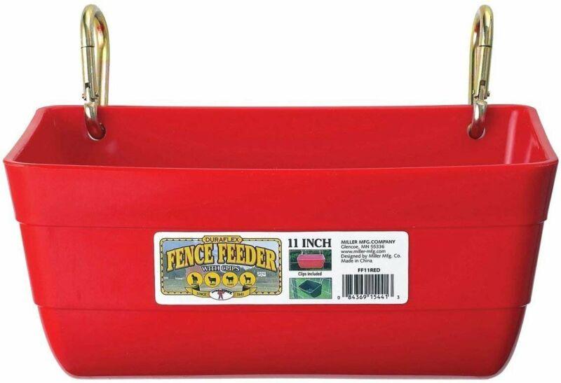 Little Giant FF11RED 4.5 Quart Heavy Duty Feed Trough Bucket Fence Feeder, Red