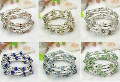 Wholesale Wrap Bracelets Bulk Lot 8 Adjustable Crystal Gemstone Bead Silver (Crystal Pearl Wrap Bracelet)