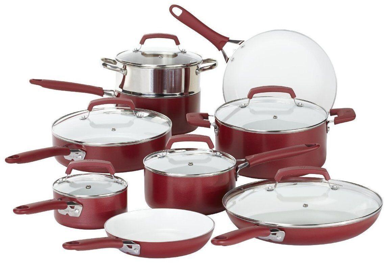 Cookware Kitchen Set Ceramic Non Stick 15 Pcs Stock Pot Fry