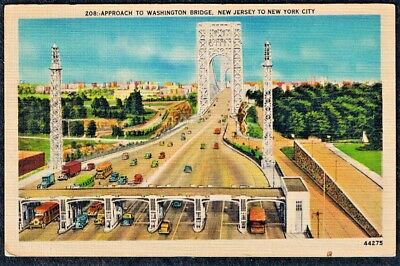 Washington Bridge New Jersey to New York City Postcard Linen unposted
