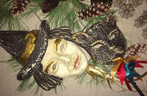 Pair of Fabulous La Scala Witch & Black Cat Wood Pulp Masks 1980s