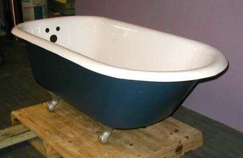 Vintage Kohler Cast Iron Clawfoot Bath Tub, professionally refinished, dark blue