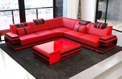 Design Sofa Couch modern Ragusa L Form Leder Ecksofa Ledercouch LED Beleuchtung gebraucht kaufen  Deutschland
