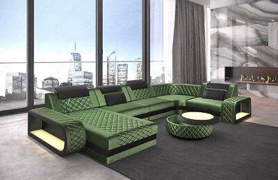 Grünes Stoff Sofa Couch (Sofa Wohnlandschaft Couch Samtstoff Ottomane Chesterfield BERLIN U in grün + LED)
