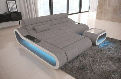 Modernes Design-ottomane (Sofa Eckcouch Polstersofa Couch modern CONCEPT L Form Design Ottomane Grau LED)