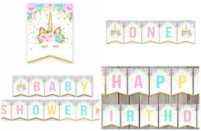 Unicorn Happy Birthday Bunting Banner Magical Party Baby Shower Decoration US