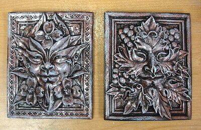 Lot of 2 Green Man Leaf Mythical Season Faces Gothic Art Forest Mask