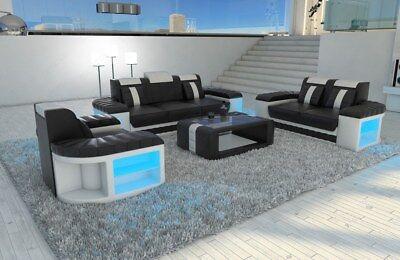Gebraucht, Sofagarnitur Sofaset BELLAGIO 3-2-1 Design Couch Luxus Sofa mit LED Beleuchtung gebraucht kaufen  Deutschland