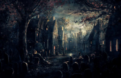 Halloween Town Poster (Framed Print - Haunted Eerie Ghost Town (Picture Poster Gothic Horror)