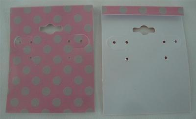Qty. 25 Pink with Dots Plastic Earring Cards Hold Merchandise Price Tags