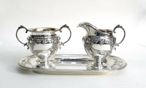 Wallace Sterling Silver Grand Baroque Creamer & Sugar w/Tray 4951-9