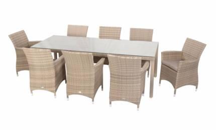 9pc Wicker Outdoor Dining Set