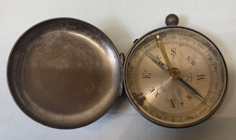 Antique Pocket Compass Made in France WORKING
