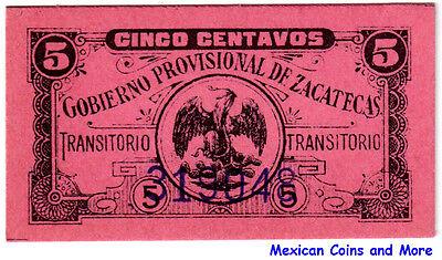 Mexico Revolution 5 Centavos Zacatecas (No Date), UNC. M4192.