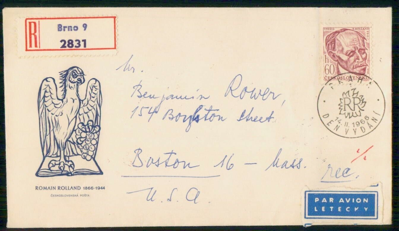 Mayfairstamps CZECHOSLOVAKIA FDC 1966 COVER ROMAIN ROLLAND Wwm3881 - $1.00