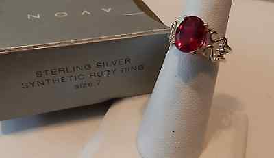 AVON NEW OLD STOCK STERLING SILVER SYNTHETIC RUBY RING SIZE 7